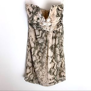 H&M Strapless Snake Print Mini Cocktail Dress